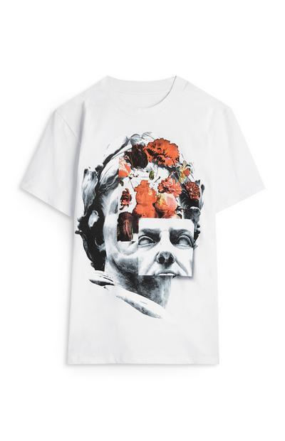 T-shirt estampado colagem estátua