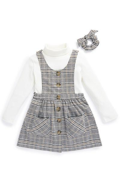 Younger Girl Grey Check 2-In-1 Pinafore Dress