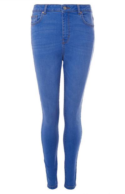 Calças ganga cintura subida azul