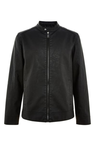 Blusão estilo motard imitação pele preto