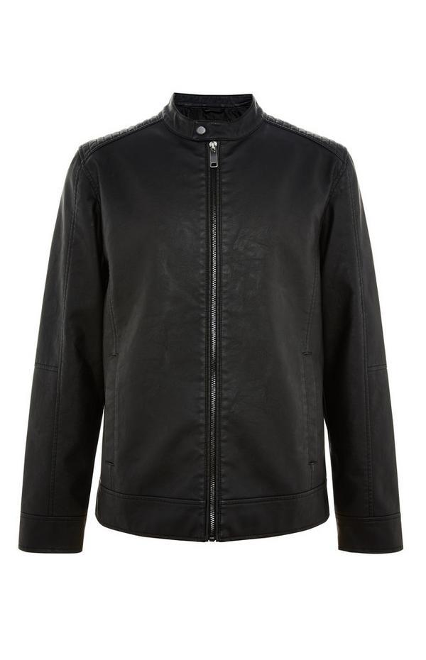 Black Faux PU Biker Jacket