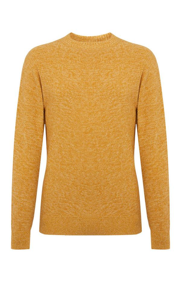 Yellow Moss Stitch Twist Sweater