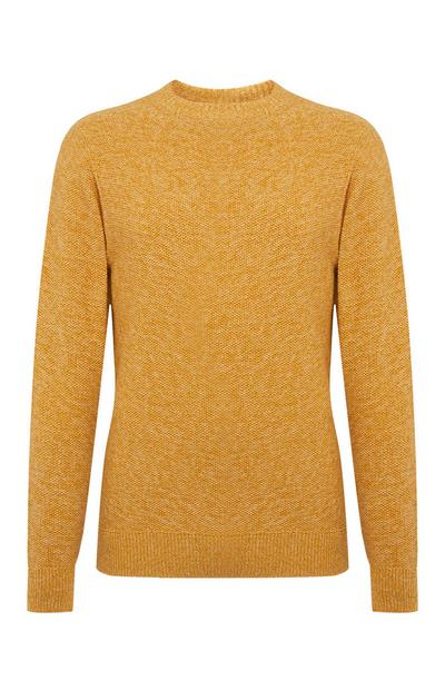 Pull en maille point de riz jaune