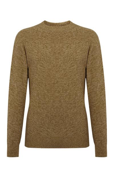 Brown Moss Stitch Twist Sweater