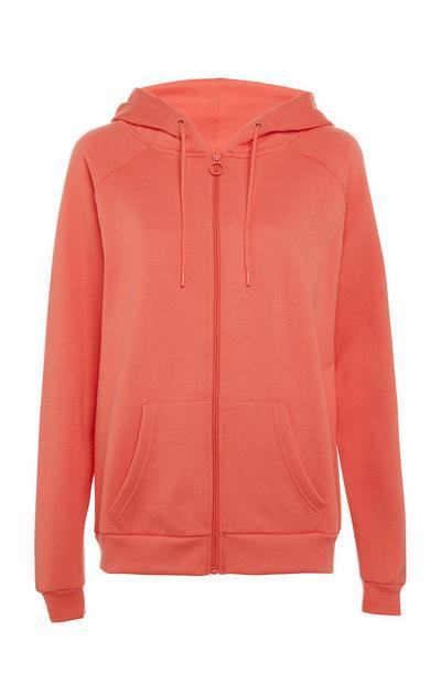 Koraalrode hoodie met rits
