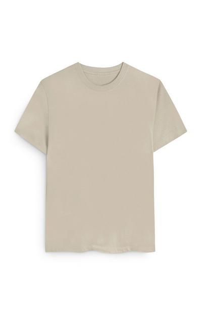 Ecrufarbenes, gerade geschnittenes T-Shirt aus Biobaumwolle