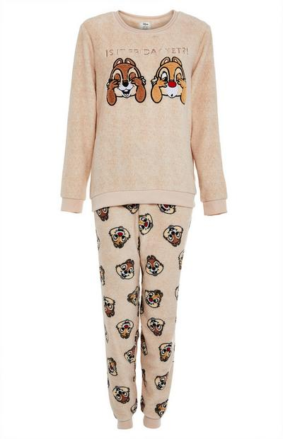 Conjunto de pijama beige de borreguito con Chip y Chop