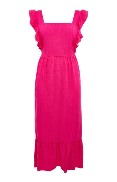 Halflange roze midi-jurk met ruches