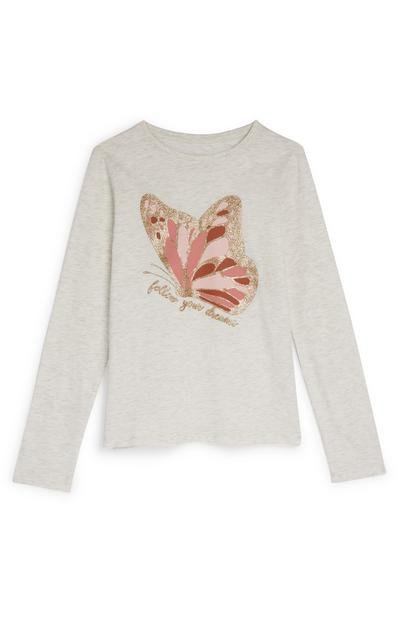 Older Girl Stone Pink Butterfly Long Sleeve T-Shirt