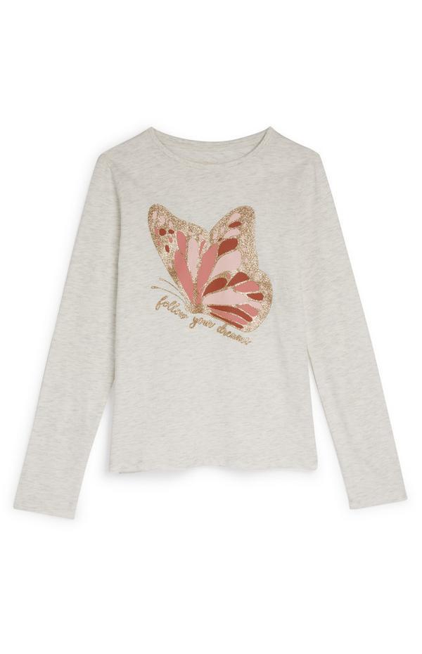 Beige top met roze vlinder en lange mouwen voor meiden