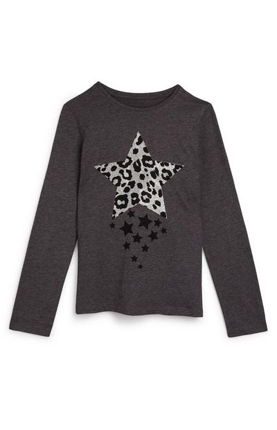 Older Girl Grey Animal Print Star Longsleeve Top