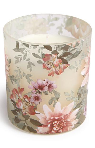 Floral Printed Decal Votive Candle