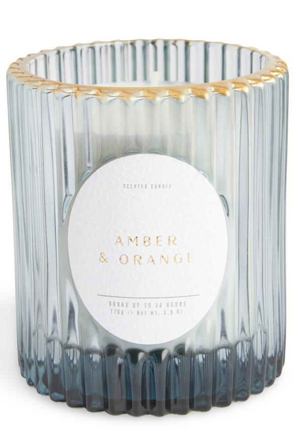 Blue Fluted Amber And Orange Glass Votive With Goldtone Rim