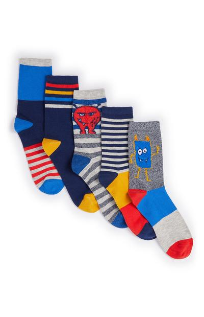 Baby Boy Monster Socks 5 Pack