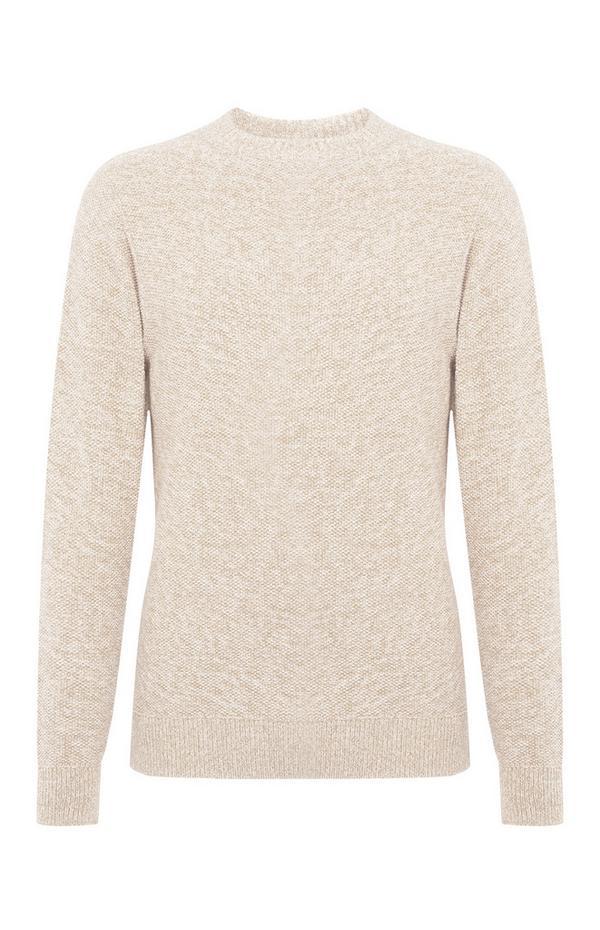 Crèmekleurige sweater met gerstekorrelsteek