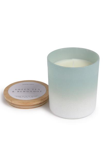 Candela con coperchio in legno sfumato Green Tea And Bergamot