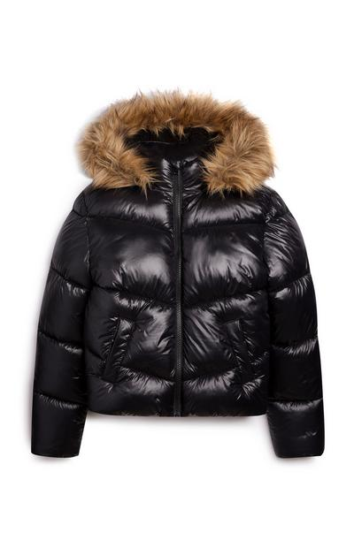 Older Girl Black High Shine Puffer Jacket