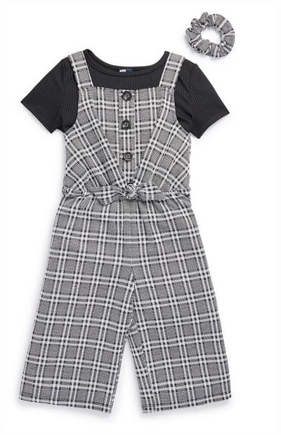 Younger Girl 2-In-1 Grey Check Jumpsuit