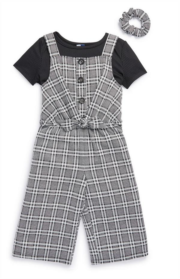 Younger Girl 2-In-1 Gray Check Jumpsuit Set