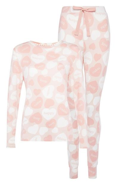 Pink Heart Pattern Pyjama Set