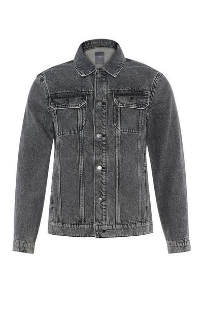 Washed Black Denim Trucker Jacket