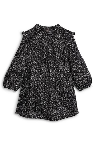 Younger Girl Soft Touch Black Print Ruffle Dress