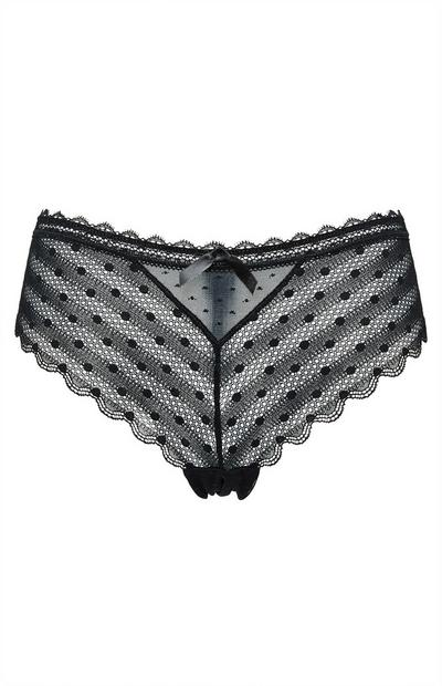 Black Polka Dot Mesh Lace Briefs