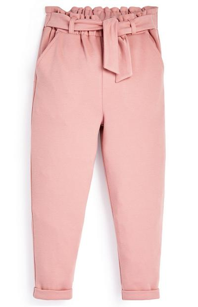 Younger Girl Pink Paperbag Trousers
