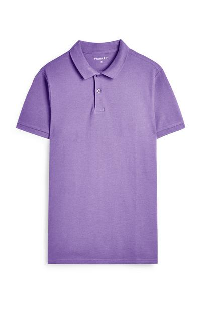Purple Polo Neck Short Sleeve T-Shirt