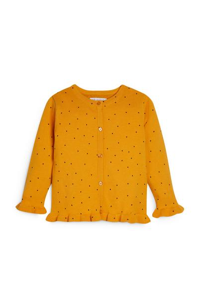 Younger Girl Mustard Polka Dot Cardigan