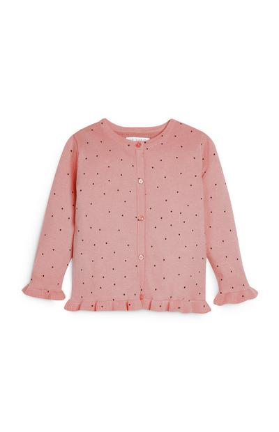 Younger Girl Pink Polka Dot Cardigan