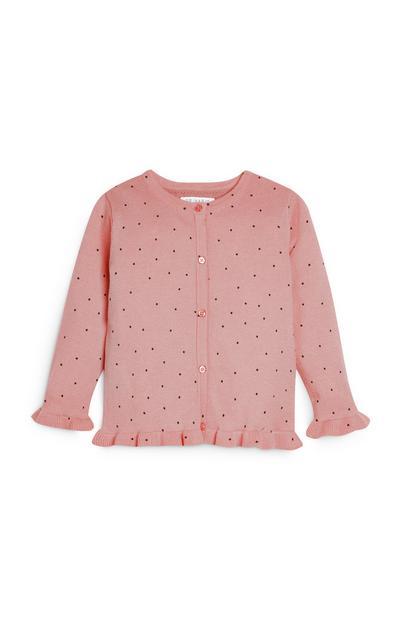 Roze vest met stippen voor meisjes