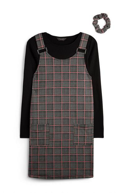 Older Girl Two In One Gray Check Dress And Longsleeve T-Shirt