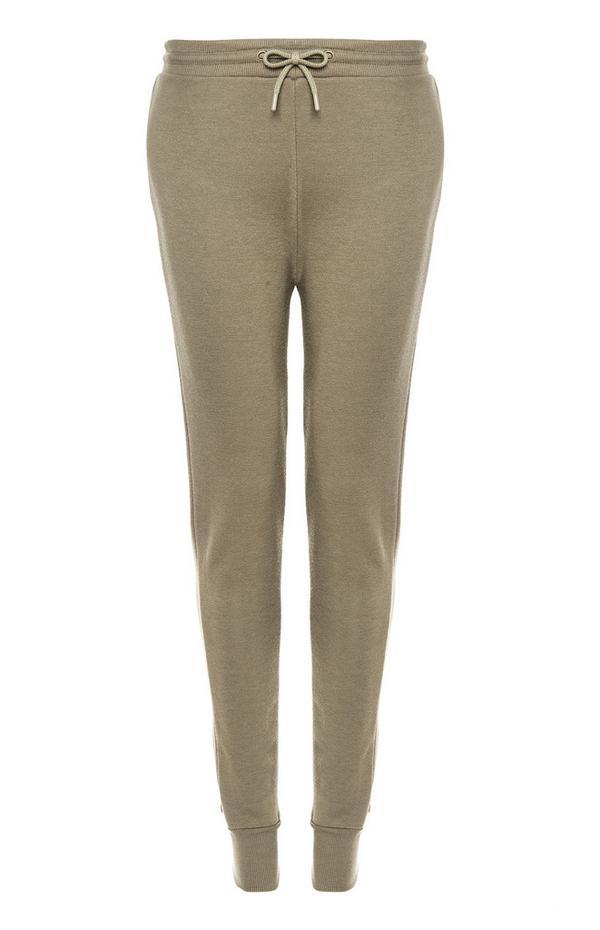 Pantalon de jogging kaki coupe skinny avec cordon de serrage
