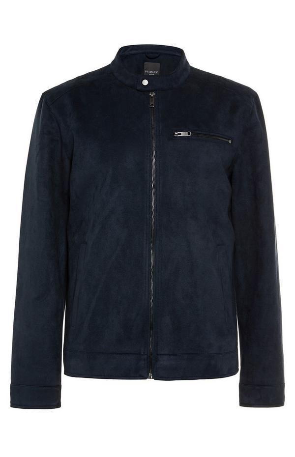 Donkerblauwe jas van imitatiesuède met racerhals