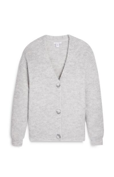 Older Girl Grey V Neck Cardigan