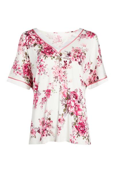 Ivory And Pink Rose Print Pajama Top