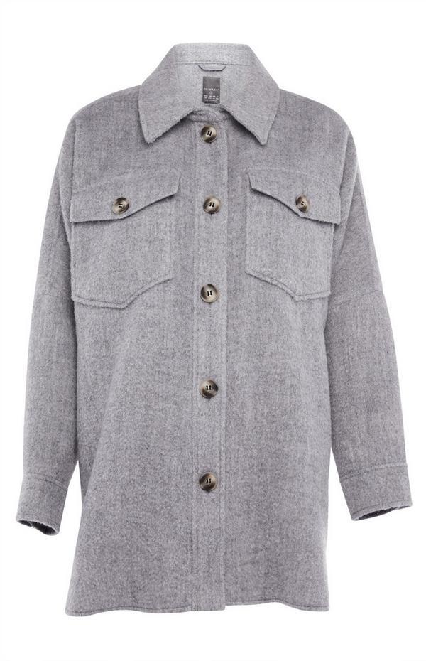 Solid Grey Shacket