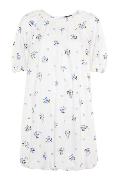 Weißes Babydoll-Kleid mit Blumenmuster und Ballonärmeln