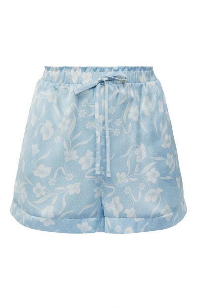 Blue Floral Print Satin Tie Waist Shorts