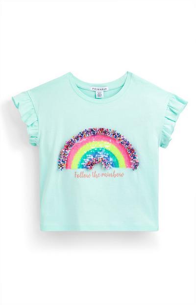 Turquoise T-shirt met regenboog van pailletten voor meisjes