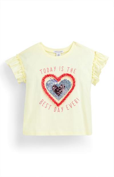 Geel T-shirt met hart van pailletten voor meisjes