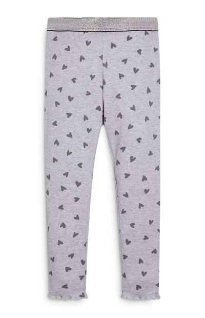 Younger Girl Ribbed Heart Print Leggings