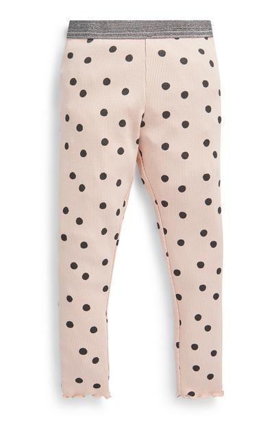 Younger Girl Pink Polka Dot Leggings