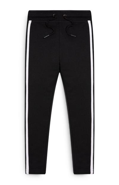Younger Girl Black with White Stripe Joggers