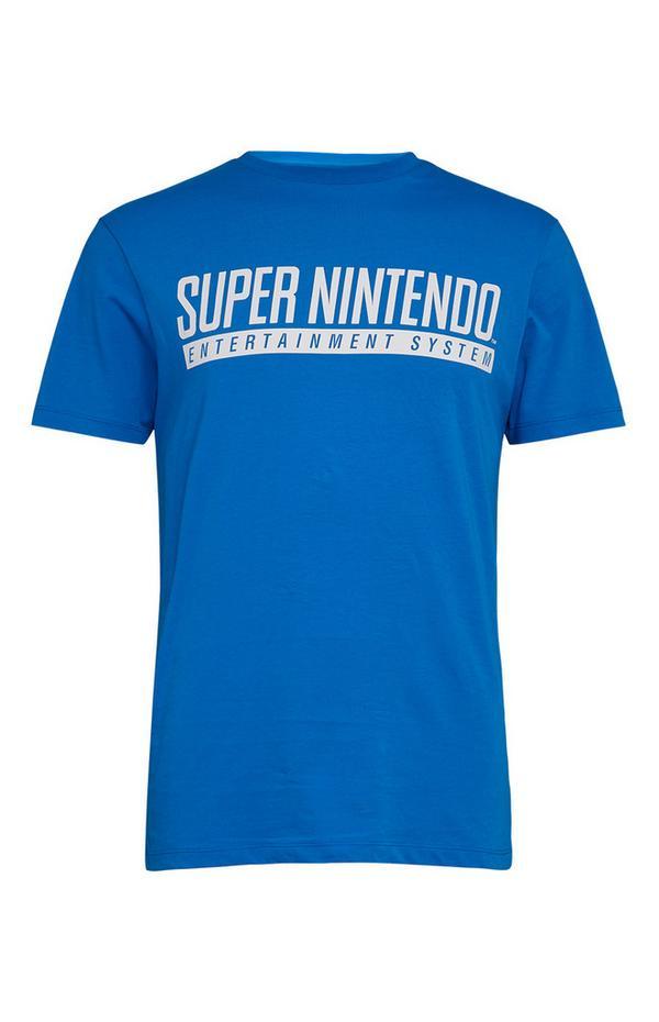 Modra majica s kratkimi rokavi in napisom Super Nintendo