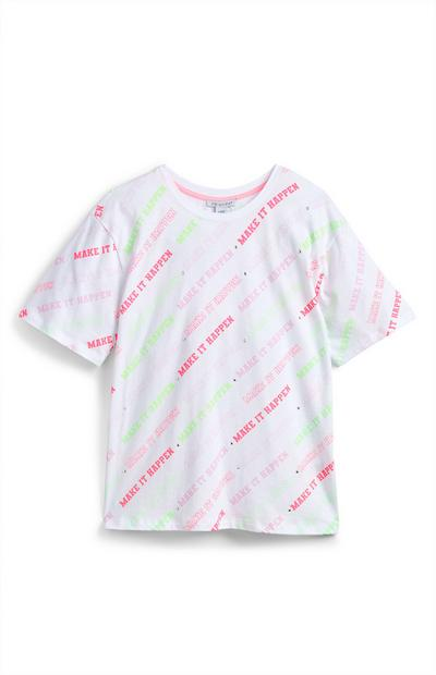Older Girl White Oversized Neon Script T-Shirt