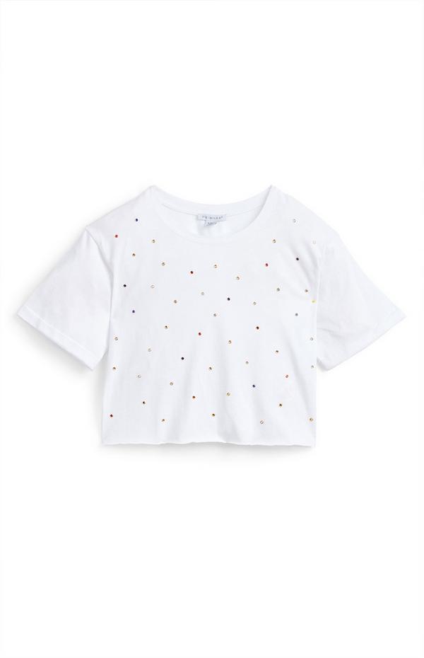 Kort wit T-shirt met stras voor meisjes
