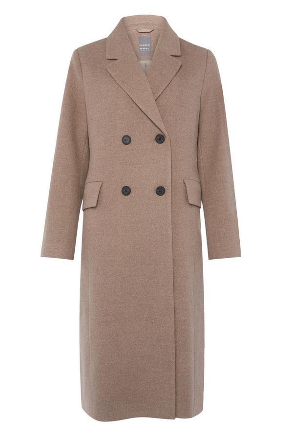 Beigefarbener, langer Mantel