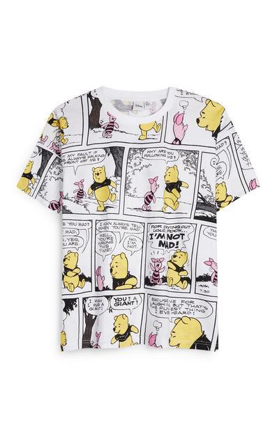 """Weißes """"Winnie Pooh"""" T-Shirt mit Comic-Schriftzug"""